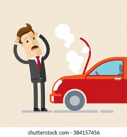 A manager or businessman have a force Majeure, a car broke down. Illustration, vector EPS 10