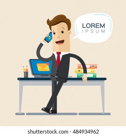 Manager or businessman talking on a cellphone in a office workplace. Vector, lorem ipsum, illustration, flat
