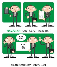 Manager Cartoon Pack #01 - Set of 6 manager cartoon characters with different poses, devices and text banners