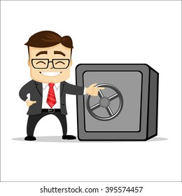 Manager character with safe. Safe box locked. Manager character is standing near the safe.