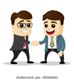Manager characters shaking hands. Businessmen. Cartoon characters.