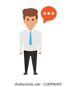 A manager with comment box but unable to speak is showing a concept of blank dialogue.