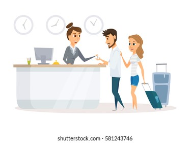 Manager and customers at hotel reception desk. Concierge service. People arrival or check in at lobby. Receptionist and guest. Man and woman booking room. Cartoon couple travel.  Hospitality staff.