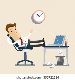 Manager. employee, clerk, office worker. A manager sits in the chair, his feet on the table, whistling and idling. Flat, illustration, Vector EPS10.