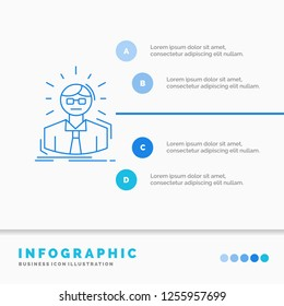 Manager, Employee, Doctor, Person, Business Man Infographics Template for Website and Presentation. Line Blue icon infographic style vector illustration