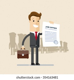 Manager, employee. A man in a suit holds a job offer. Illustration, vector EPS10.