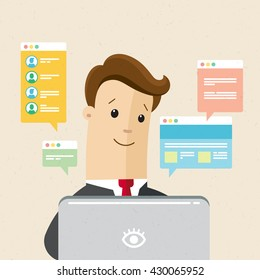 Manager or employee is working a laptop. Communication, chat, messages, social networks. illustration of online communication and work. Vector, flat