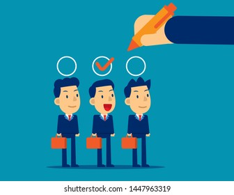 Manager hand selection employee appropriate candidate. Concept business best candidate vector illustration, Flat cartoon character style design