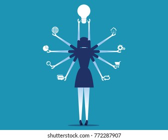 Manager holding business icons. Concept business vector illustration. Rear view style.
