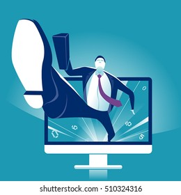 Manager jumping out of the computer, starting internet business. Business vector concept illustration.