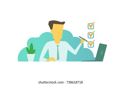 Manager marks checkbox ticked cases sitting at the table. successfully completed tasks Labor everyday life