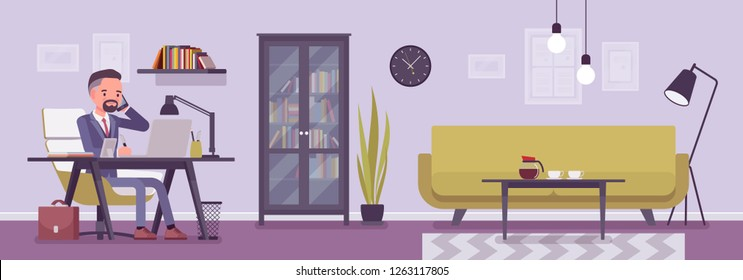 Manager in office, modern business workspace interior. Businessman working in a room, light design and furniture solution for beauty and workplace functionality. Vector flat style cartoon illustration