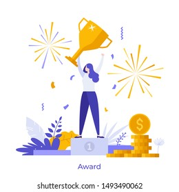 Manager or office worker holding golden champion cup, prize or award. Concept of winner, leader, victory, business competition winning. Modern vector illustration in flat style for poster, banner.
