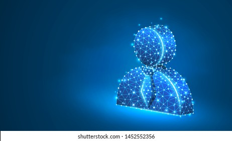 Manager, office worker profile silhouette. User portrait, employee sign, business pass concept. Abstract, digital, wireframe, low poly mesh, vector blue neon 3d illustration. Triangle line dot