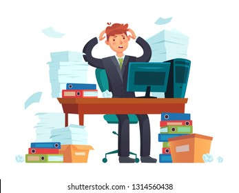 Manager overworked. Office overwork, unorganized paperwork and business work document sheets piles. Overworking job messy, businessman documents accounting stack cartoon illustration