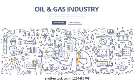 Manager presenting the value of the oil & gas market in abstract way. Doodle concept of oil and gas exploration and production industry for web banner, hero images and printing materials