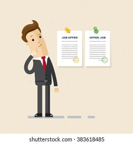 Manager received  two job offers and chooses. Illustration, vector EPS 10