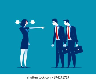 Manager red face of rage and pointing to staff. Concept business vector illustration