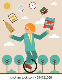 Manager riding a unicycle while juggling a house, a office a wallet, a tablet, a clock and a calculator icons