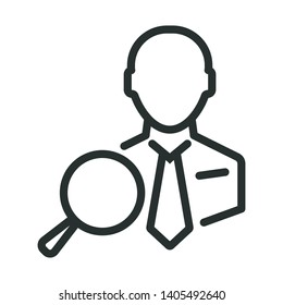 manager search - minimal line web icon. simple vector illustration. concept for infographic, website or app.