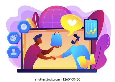 Manager shakes hands with customer, strategy for interactions with client. Customer relationship management, CRM system, CRM lead management concept. Bright vibrant violet vector isolated illustration