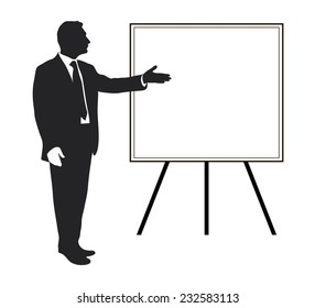 Manager shows: Items objectives, text, priorities, important data. Presentation. Seminar. Training. Leader. Infographic. Silhouette of a man. Pointing gesture. Vector. Icon. Black and white.