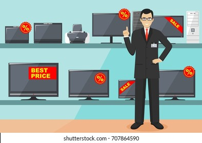 Manager in store with TVs, computers, laptops, printers, monitors. The salesman in the electrical shop. Detailed illustration of the seller on the background of shelves with appliances in flat style.
