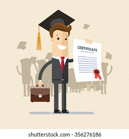 Manager or student. A man in a suit hold a certificate on completion of education. Illustration, vector EPS 10.
