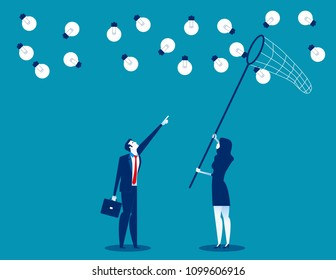 Manager and team catching ideas with a butterfly net. Concept business vector illustration, Flat busines cartoon, Character design style.