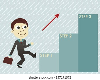 Manager with three steps infographic template/Flat design vector manager with three steps infographic template.