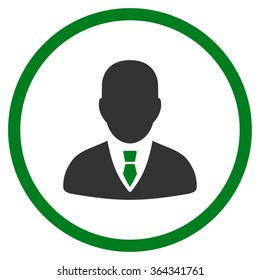 Manager vector icon. Style is bicolor flat circled symbol, green and gray colors, rounded angles, white background.