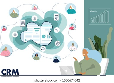 Manager woman uses CRM for growing and scaling business. Flat vector illustration