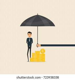 Manager,office worker or businessman with the beard holding an open umbrella over golden coins. Concept of business insurance.Vector flat design illustration