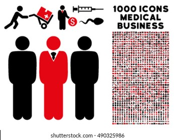 Managers icon with 1000 medical business intensive red and black vector pictograms. Design style is flat bicolor symbols, white background.