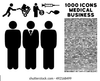 Managers icon with 1000 medical business black vector design elements. Set style is flat symbols, white background.