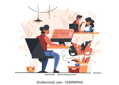 Managers in modern office vector illustration. Smiling colleagues sitting at table. Man working with computer at workplace flat style design. Work environment concept