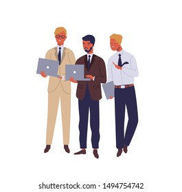Managers working on laptop and talking flat vector illustration. Cheerful office workers in business suits discussing project cartoon characters on white background. Colleagues solving project issues.