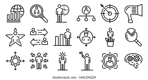 Managing skills icons set. Outline set of managing skills vector icons for web design isolated on white background