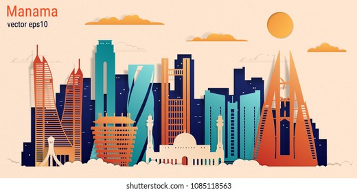 Manama city colorful paper cut style, vector stock illustration. Cityscape with all famous buildings. Skyline Manama city composition for design