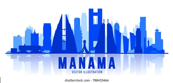 Manama city silhouette skyline. The capital of the country is Bahrain. Vector illustration