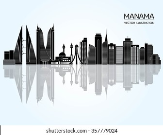 Manama detailed skyline. Vector illustration