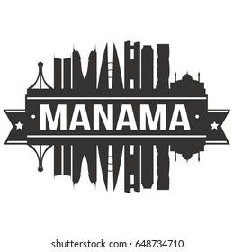 Manama Skyline Silhouette Design City Vector Art