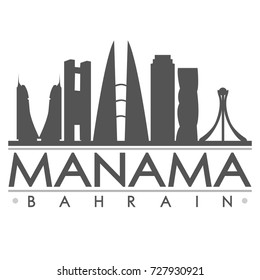 Manama Skyline Silhouette Design City Vector Art