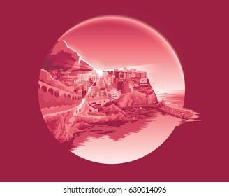 Manarola Italy Mountain City Vector Illustration EPS 10