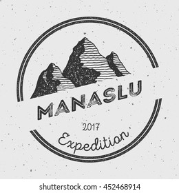 Manaslu in Himalayas, Nepal outdoor adventure logo. Round expedition vector insignia. Climbing, trekking, hiking, mountaineering and other extreme activities logo template.