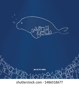 A Manatee have plastic waste in the stomach.There are many plastic waste in the sea. Destroy the environment.Save Manatee