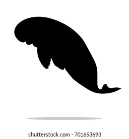 Manatee mammal  sea black silhouette animal. Vector Illustrator