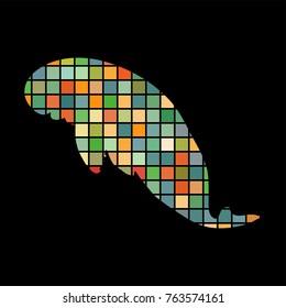 Manatee mammal sea mosaic color silhouette animal background black. Vector Illustrator