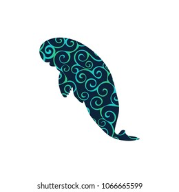 Manatee mammal sea spiral pattern color silhouette animal