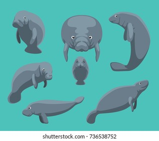Manatee Seven Poses Set Vector Illustration